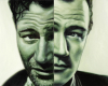 Contemporary Portrait Painting of John Wayne, OIl on aluminum panel, by Rebecca Luncan