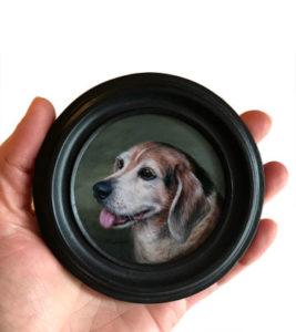Pet portrait oil painting miniature by Rebecca Luncan