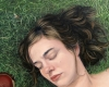 Portrait Painting of woman lying on grass By Rebecca Luncan, oil on aluminum
