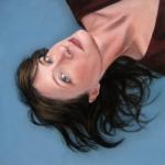 Portrait Painting woman Blue Seattle artist Rebecca Luncan