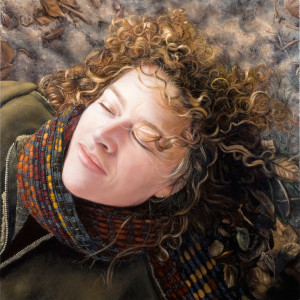 Portrait Painting of woman with leaves By Seattle artist Rebecca Luncan