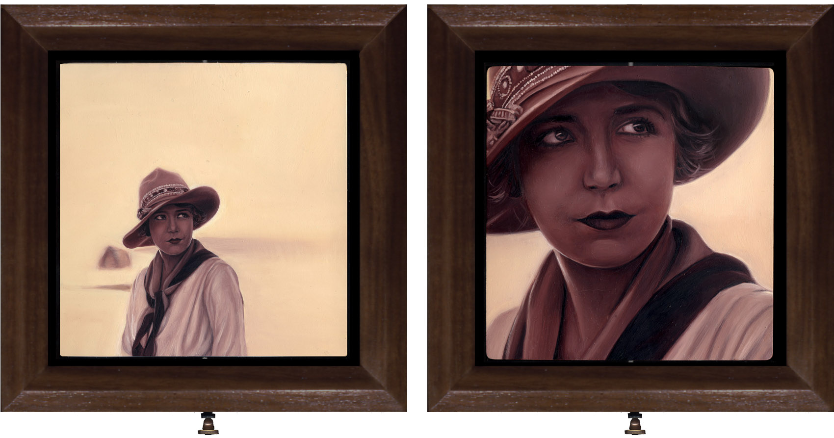 Double sided interactive oil painting of girl in the desert by Rebecca Luncan