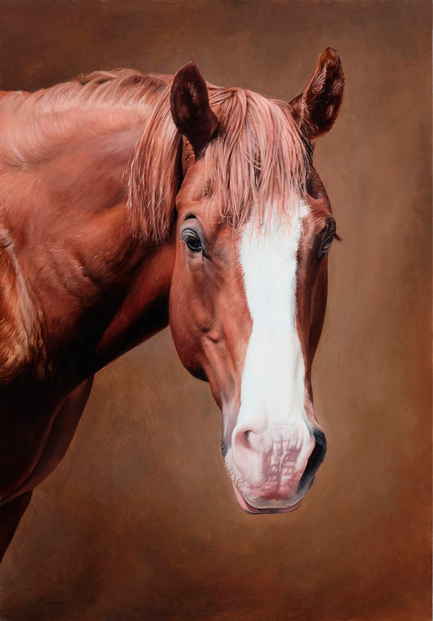 Horse portrait painted by Rebecca Luncan.