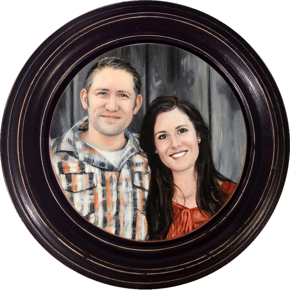 Miniature portrait painting of couple on copper by Rebecca Luncan
