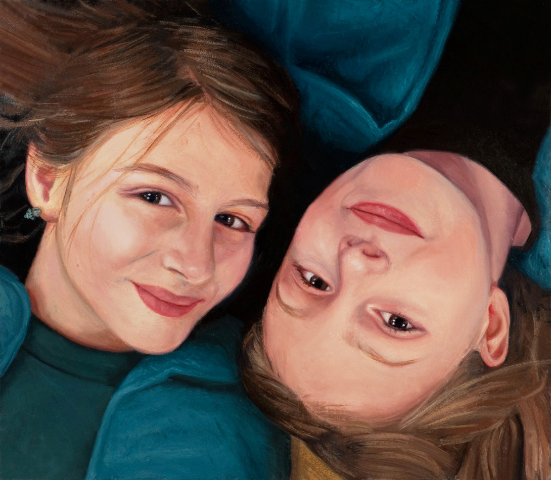 Portrait painting of two young sisters by Rebecca Luncan