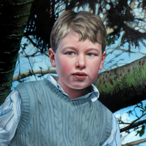 Commisioned Portrait painting of child with detailed background by Rebecca Luncan