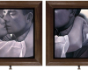 Double-sided oil painting of Buster Keaton by Rebecca Luncan