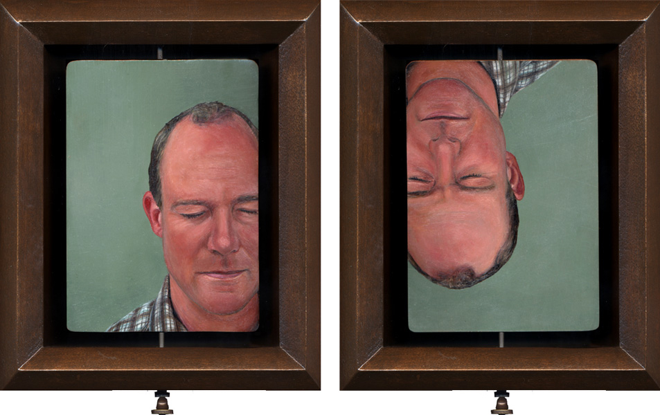 Double-sided portrait oil painting by Rebecca Luncan