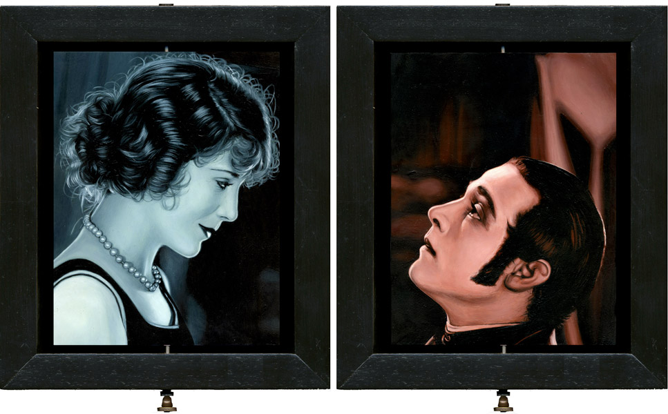 Interactive Double-sided oil painting, by Rebecca Luncan