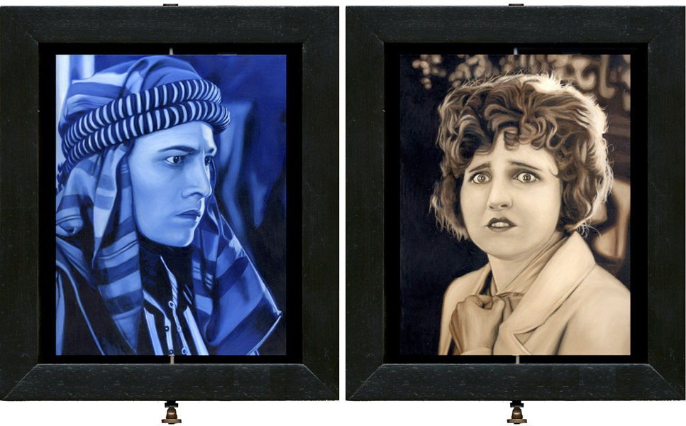 Interactive Double-sided oil painting of Valentino, by Rebecca Luncan