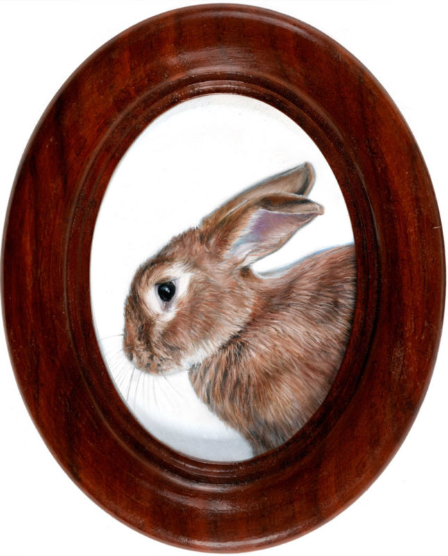 Rabbit oil painting miniature by Rebecca Luncan