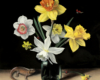 oil painting, still life of daffodils, salamander and ladybugs on copper by Rebecca Luncan