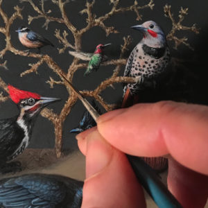 "Detail of Miniature oil painting of birds on copper by Rebecca Luncan, 5"" x 5"""