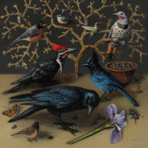 """Miniature oil painting of birds on copper by Rebecca Luncan, 5"""" x 5"""""""