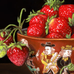 "Detail of Miniature oil painting of strawberries and Japanese porcelain on copper by Rebecca Luncan, 5"" x 5"""