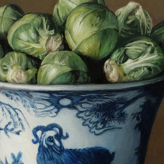 Brussels Sprouts and Porcelain Bowl detail still life painting oil on copper by Rebecca Luncan