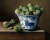 Brussels Sprouts and Porcelain Bowl still life painting oil on copper by Rebecca Luncan