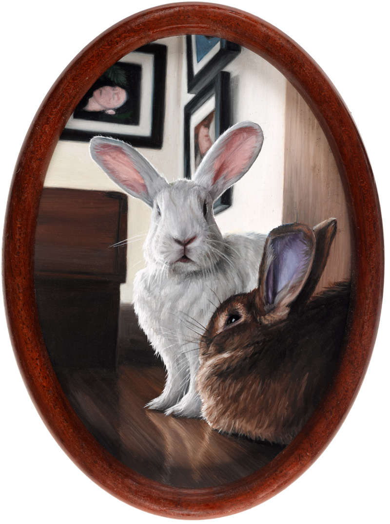 Studio Rabbits, oil painting by Rebecca Luncan