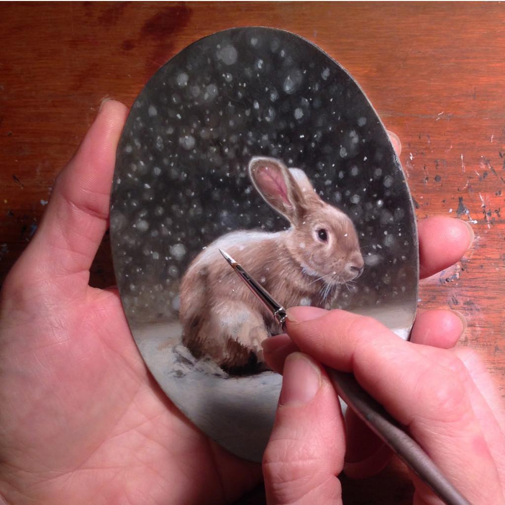Snow Rabbit In progress oil painting