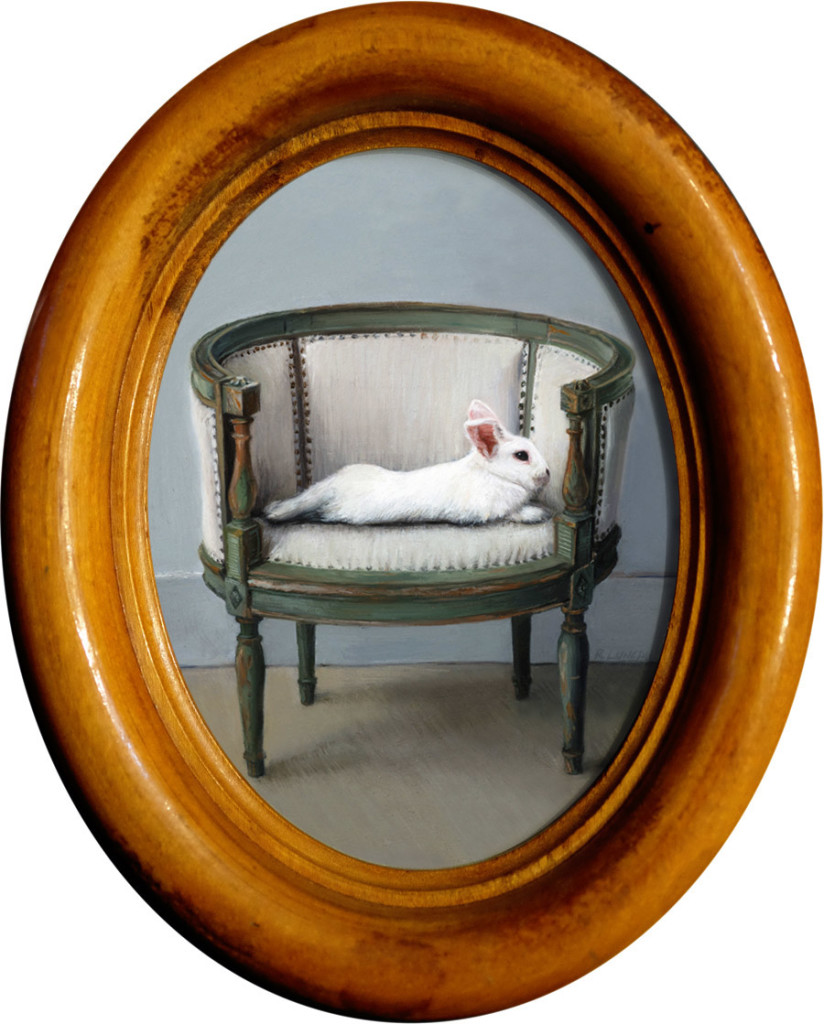Reclining Rabbit oil painting miniature by Rebecca Luncan