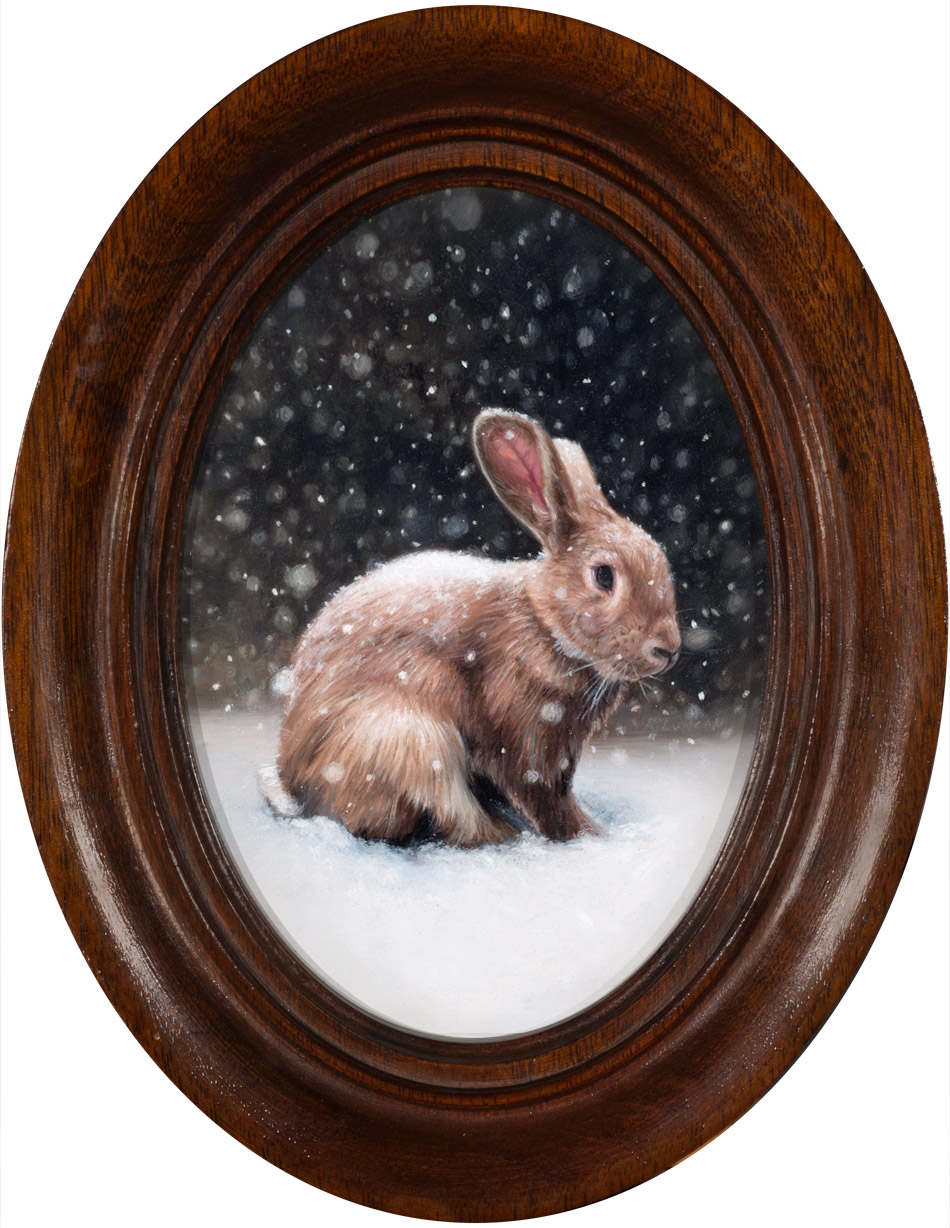 Snow Rabbit oil painting miniature by Rebecca Luncan
