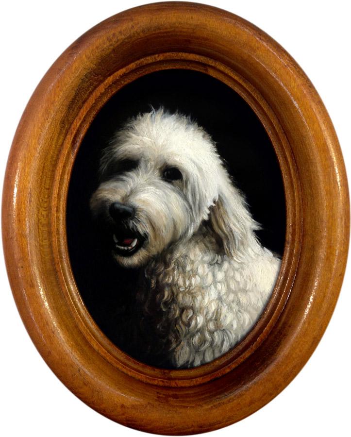 Labradoodle pet portrait oil painting Rebecca Luncan