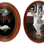 Monthly Miniatures - Rabbit oil paintings by Rebecca Luncan