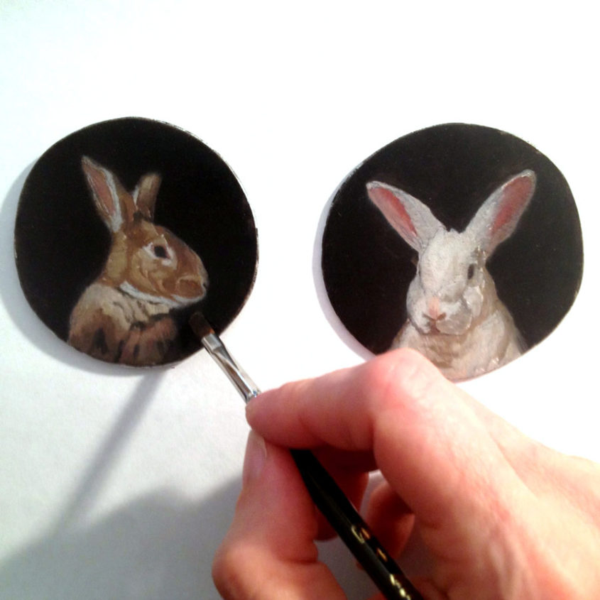 miniature rabbit paintings in progress