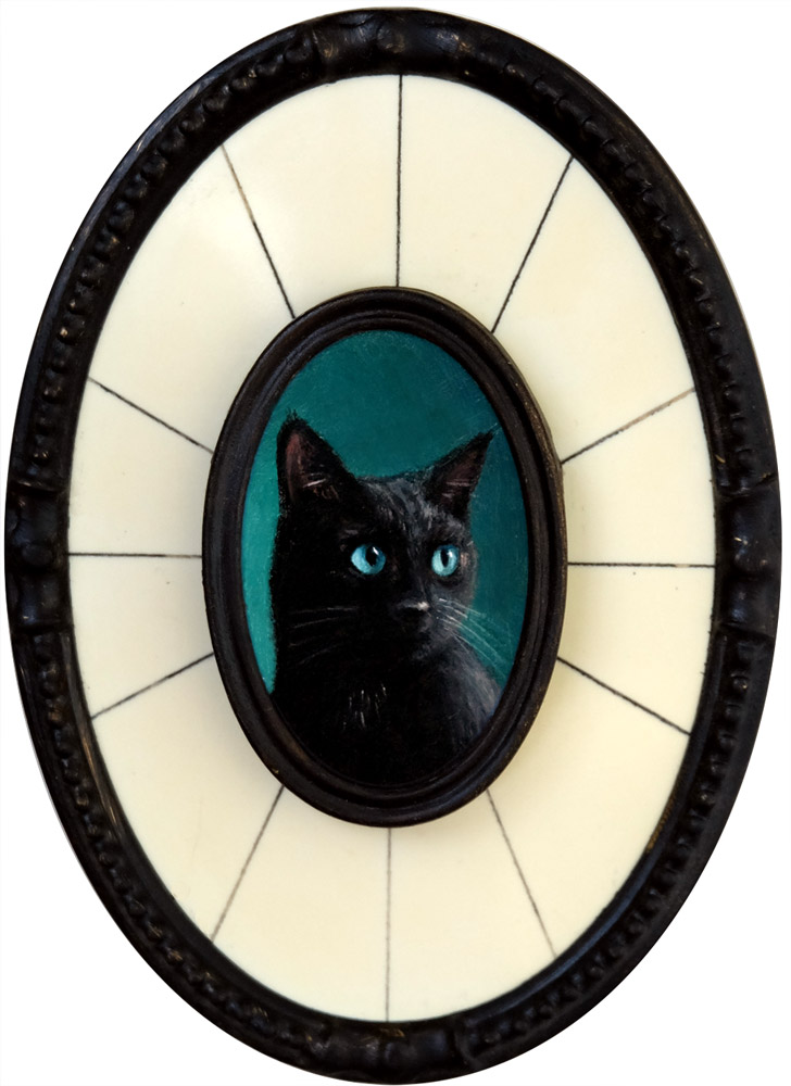 "Portrait of a Black Cat, oil on aluminum, 1.5"" x 1"" (unframed), by Rebecca Luncan"