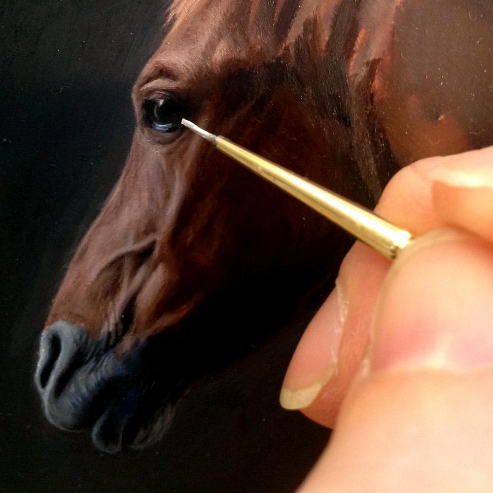 Quarter Horse Portrait in progress, oil on copper by Rebecca Luncan