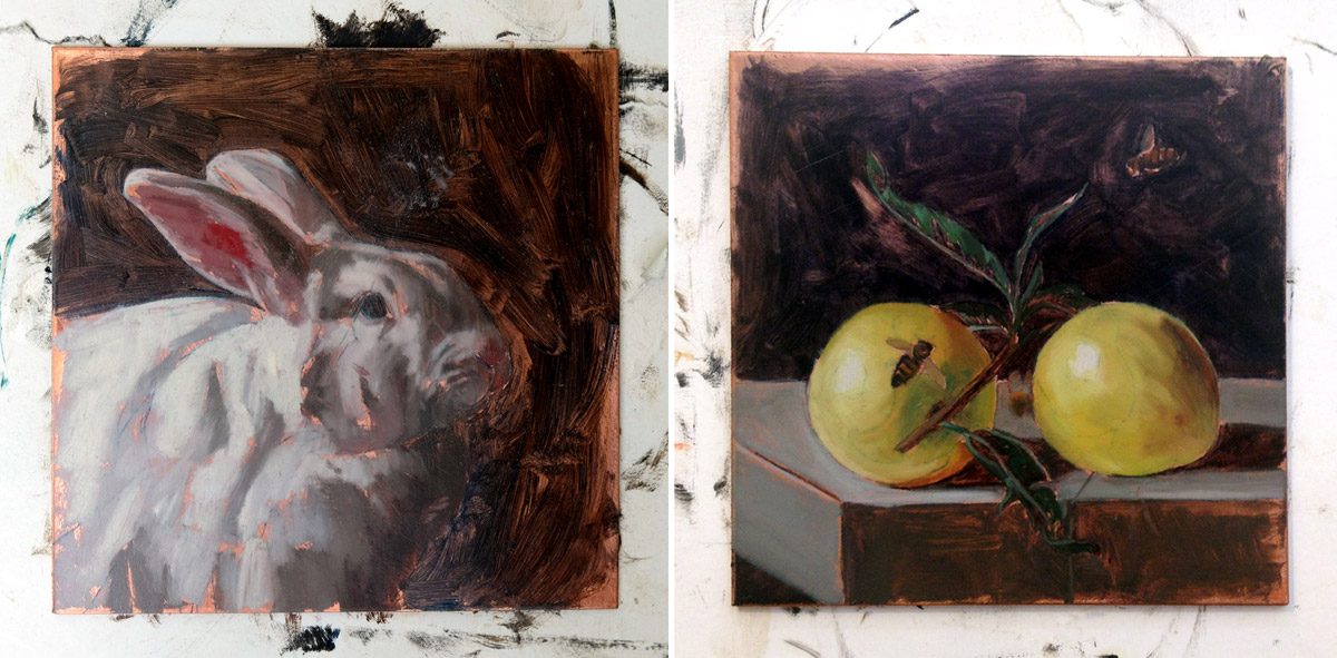 "Works In Progress, Monthly Miniatures Rabbit and Honey Bees, oil on copper, 4"" x 4"" each"