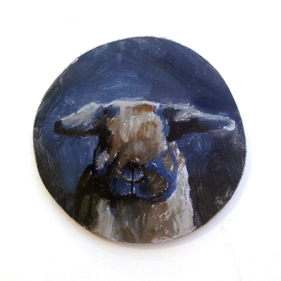 """Work In Progress, Rabbit Portrait, oil on copper, 2"""" x 2"""" by Rebecca Luncan"""