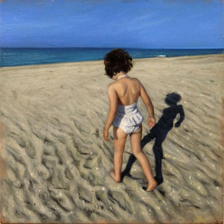 oil painting miniature of little girl at the beach by Rebecca Luncan