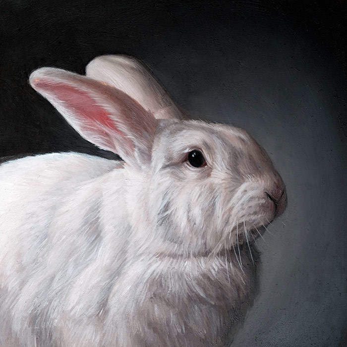 The White Rabbit, Oil painting miniature by Rebecca Luncan