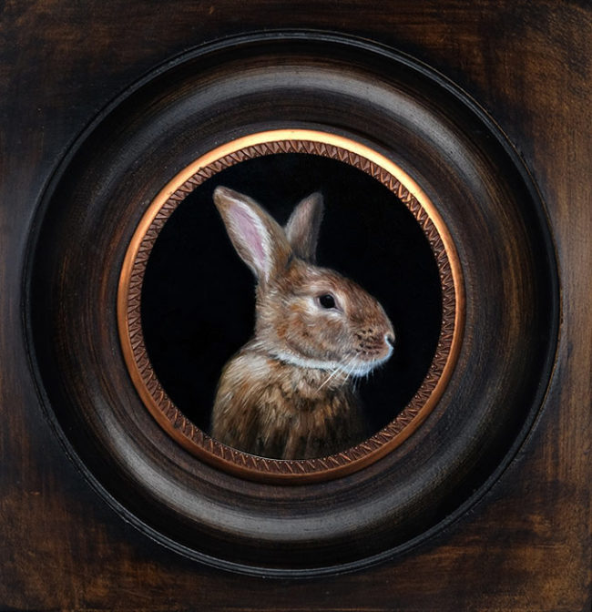 Portrait of a brown rabbit, miniature oil painting on copper by Rebecca Luncan