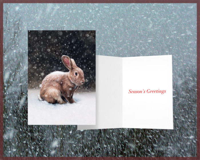 Season's Greetings Rabbit greeting card