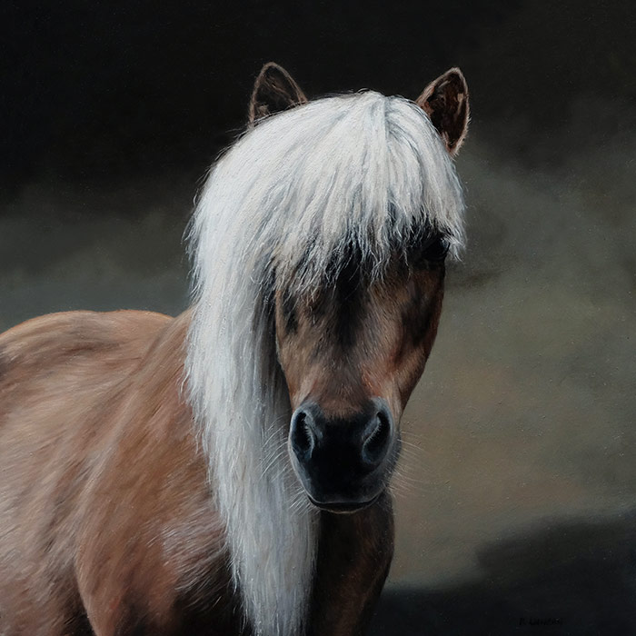 pet portrait painting of Pony by Rebecca Luncan