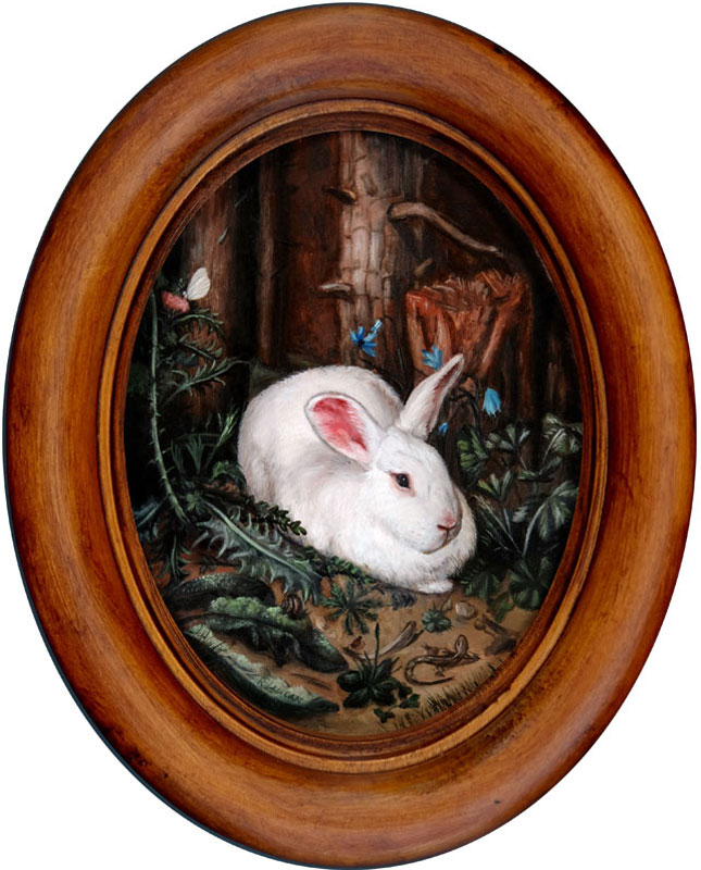 Miniature rabbit painting, A Rabbit in the Forest, after Hans Hoffmann. oil on aluminum by Rebecca Luncan