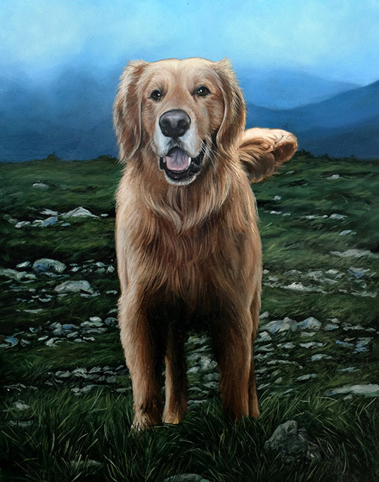 Pet Portrait Painting of Wilson the Golden Retriever by Rebecca Luncan