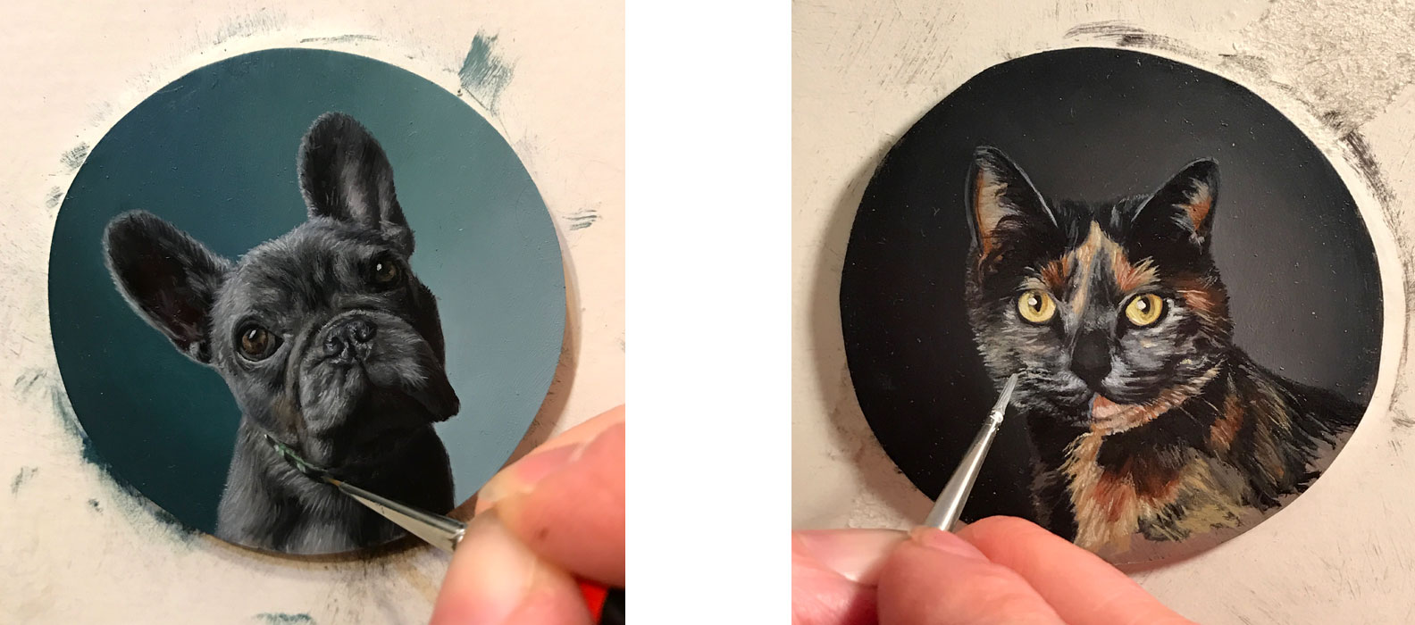 French bulldog and Cat miniature portrait paintings in progress by Rebecca Luncan