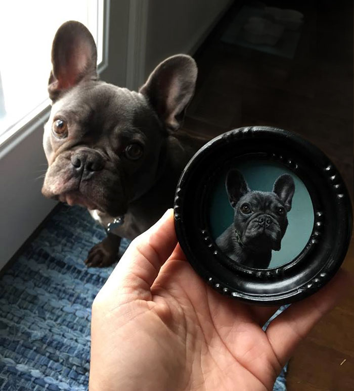 French Bulldog portrait painting miniature by Rebecca Luncan