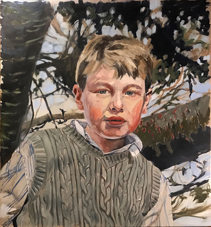 Child Portrait painting in progress by Rebecca Luncan