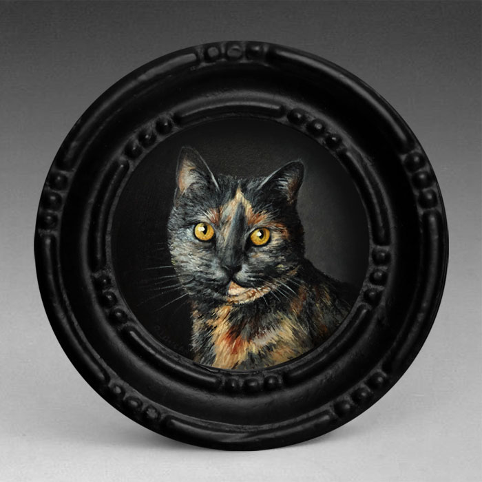 oil Portrait painting miniature of Cat by Rebecca Luncan