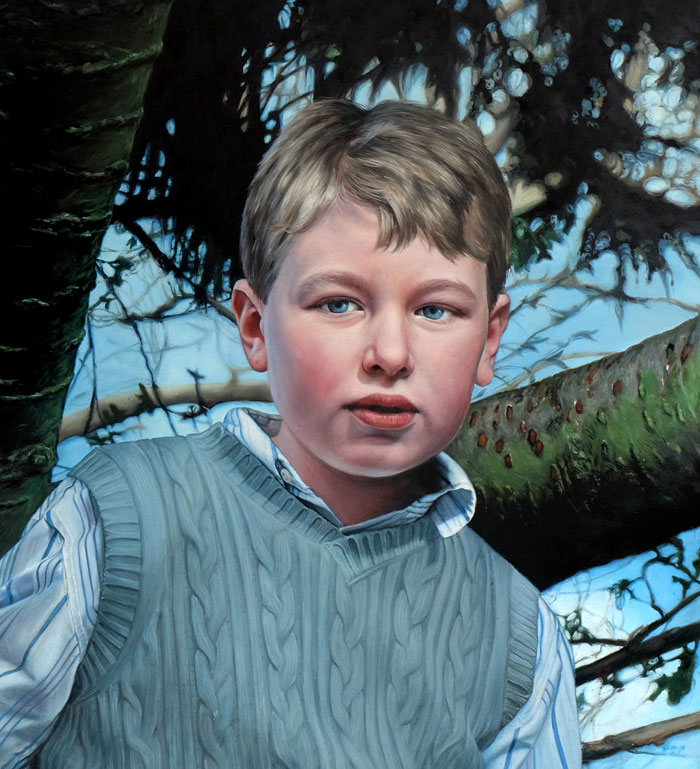 Portrait commission painting of child with detailed background by Rebecca Luncan