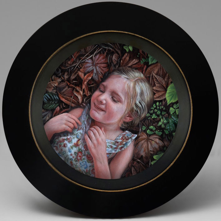miniature childrens Portrait painting of Maggie by Rebecca Luncan