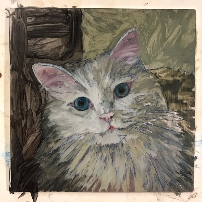 pet portrait painting of cat in progress by Rebecca Luncan