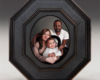 Family portrait painting in miniature, oil on aluminum by Rebecca Luncan