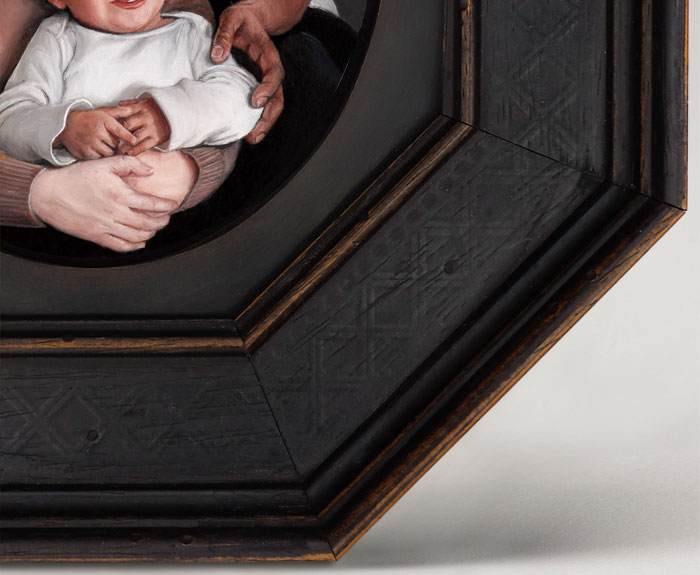 Detail of hands, Family portrait painting in miniature, oil on aluminum by Rebecca Luncan