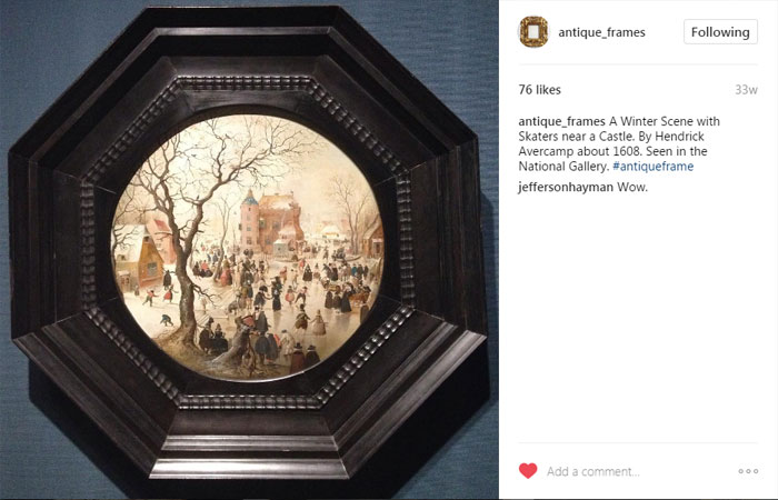 antique_frames Instagram post, A Winter Scene with Skaters near a Castle. By Hendrick Avercamp about 1608. Seen in the National Gallery. #antiqueframe
