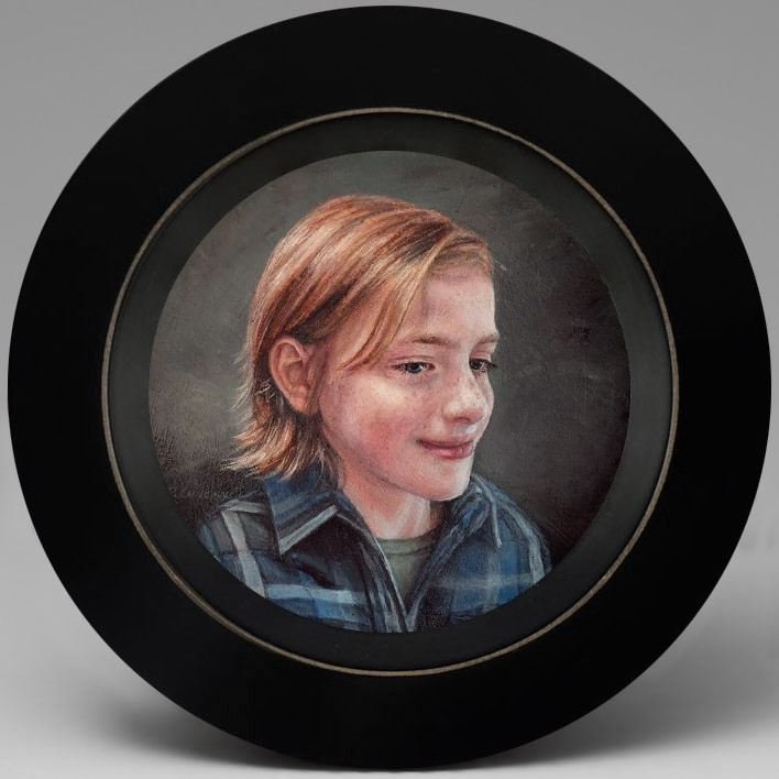 miniature children's Portrait painting of Sam by Rebecca Luncan